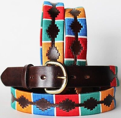 Hand Crafted Argentinian Brown Leather Polo Belt USA 2618RS