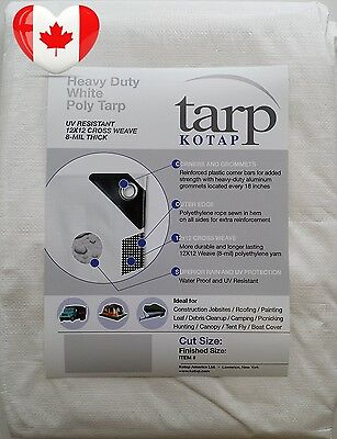 Kotap 10 ft x Heavy Duty 12 by Cross Weave 8 mil White Poly Tarp, Item TRW 1010