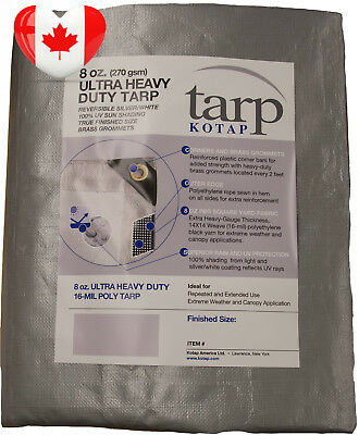 Kotap TUH 1012 Finished Size Ultra Heavy Duty 8 Ounce 16 Mil Poly Tarp, 10...