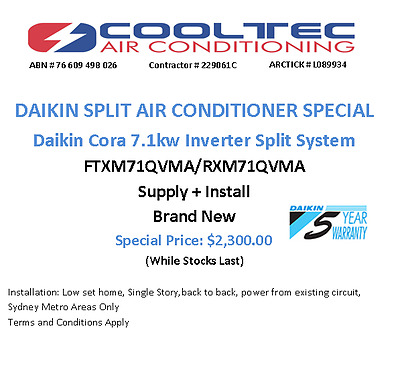 Daikin Inverter Air Conditioner 7.1KW Supply + Install FTXM71QVMA