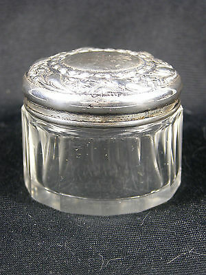 Antique Cut Glass Dresser Jar with Sterling Silver Rococo Lid