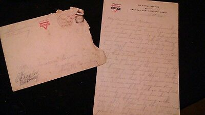 WW1 American Expeditionary Forces Letter and Cover France Trenches Shells Flyin