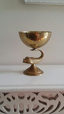 Vintage Brass Display Dish/Stand Coy Fish