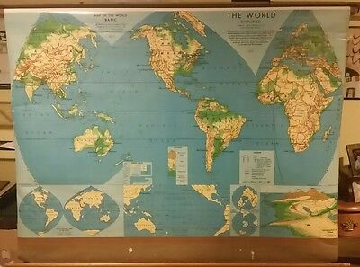 Weber Costello Map of The World 1960's? Vintage Pull Down School Wall Map