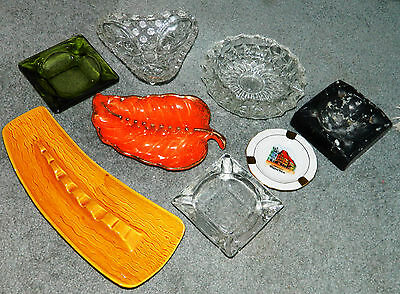 Vintage LOT OF 8 OLD ART DECO AND GLASS  ASHTRAYS