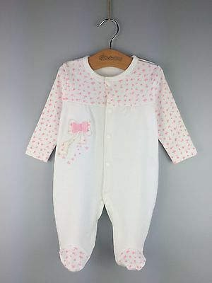 Newborn Long Sleeves White Footed Baby Girl 1-Piece Romper Bodysuit Size 12M
