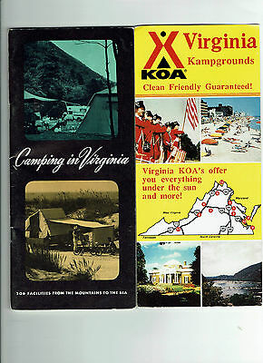 1970 vintage Camping in Virginia info booklet & 2 Campgrounds advertising cards