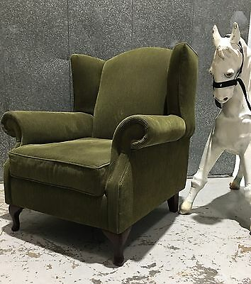 Vintage Style Green Cord Large Wingback Chair Armchair Suit Retro Industrial
