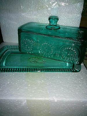 The Pioneer Woman    TEAL  Covered   BUTTER DISH    Adeline   PRESSED GLASS