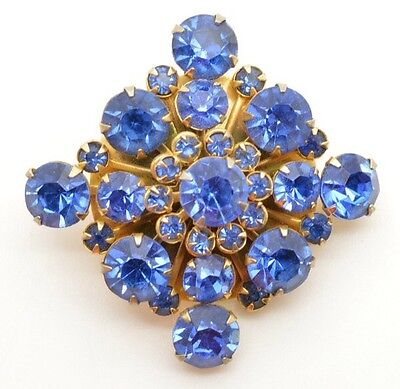 Nice Vintage Blue Rhinestone Cluster Brooch Pin Prong Set Large