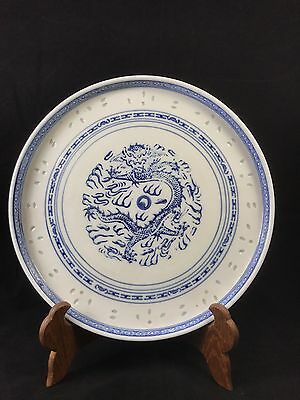Chinese Blue And White Porcelain Dragon Tea Plate