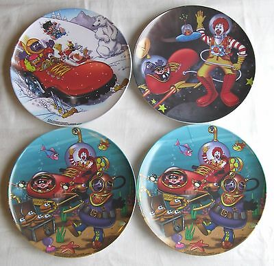 McDonald's~Set of 4 Plates~2001~Ronald's Red Shoe~Space~Underwater~Snow~VG/Exc