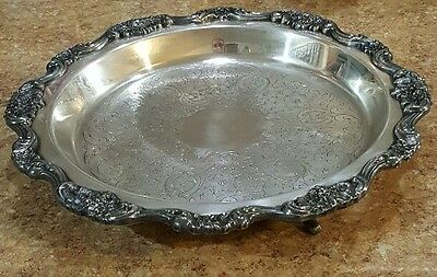 Vintage Lancaster Rose Poole Silver Co. Silver Footed Pie Plate #430 *Elegant