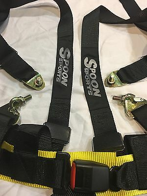 Spoon Car  Vehicle 4 Point Racing Sport Safety Harness Strap Seat Belt Bolt 1cp