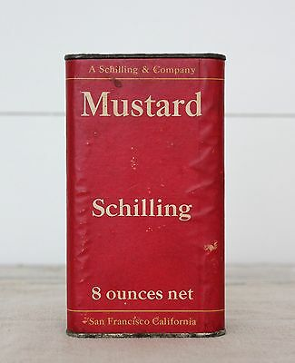 Vintage c. 1944 Schilling Mustard Spice Tin Can 8 oz San Francisco Paper Label