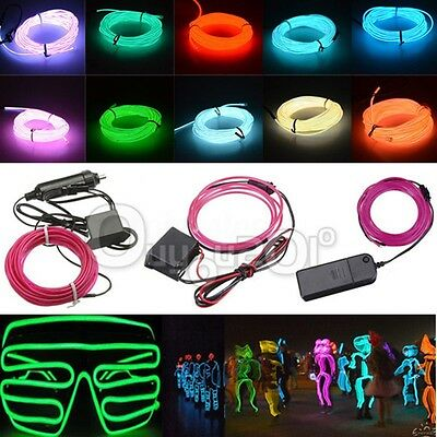 Free Controller 1m-5m EL Wire String Strip Rope Tube Light PLUS 15LED 12V lamp