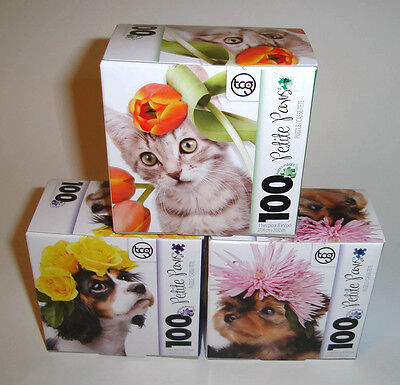 Petite Paws 100 Piece Jigsaw Puzzles Lot of 3 Puppies and Kitten New