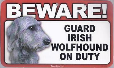"Scandical ""Beware! Guard Irish Wolfhound on Duty"" Novelty Sign New"