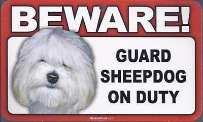 "Scandical ""Beware! Guard Sheepdog on Duty"" Novelty Sign New"
