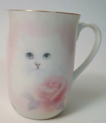 Otagiri Bob Harrison Kitten Cat with Pink Rose Coffee Mug Japan