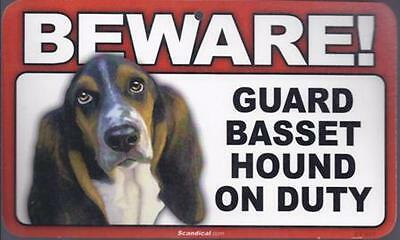 "Scandical ""Beware! Guard Basset Hound on Duty"" Novelty Sign New"