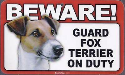 "Scandical ""Beware! Guard Fox Terrier on Duty"" Novelty Sign New"