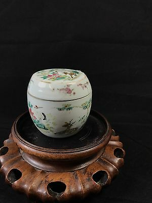 Chinese Famille Rose Tongzhi Jar With Lid Decorated With Crane And Deer