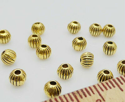 Free Ship 100Pcs Gold Plated Spacer Beads For Jewelry Making 4mm