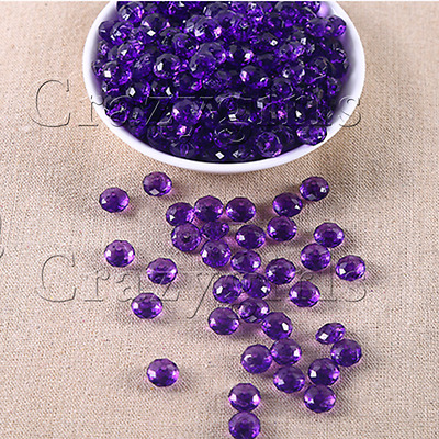 50pcs 10mm Acrylic Round Faceted Purple Plastic Spacer Beads Bracelet Jewelry J