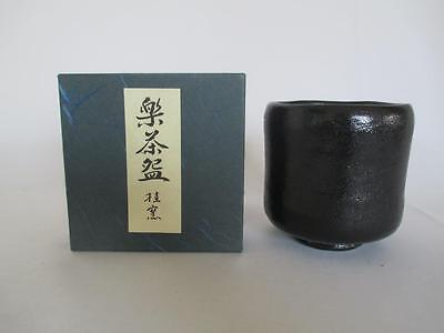 Japanese Raku ware tea bowl/ very tasteful/ Kuro-raku/ 6766