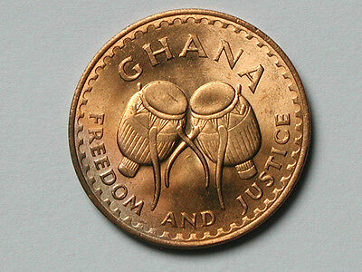 "Ghana AFRICA 1967 1 PESEWA Coin UNC Red with Star & Drums ""Freedom and Justice"""