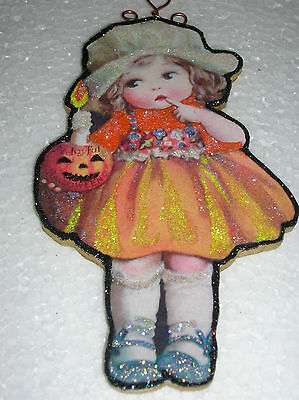 Halloween Girl with Pumpkin Candle Glitter Wood Slice Ornament Vintage Image