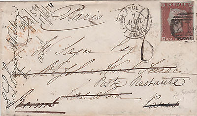 1854 QV COLCHESTER COVER WITH 1d PENNY RED IMPERF STAMP RARE TO PARIS FRANCE