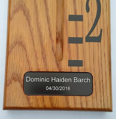 Personalised Handmade Wooden Growth / Height Chart. Solid Oak