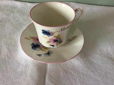"Springfield Staffordshire English Fine Bone China Duo Cup and Saucer ""Mother"""