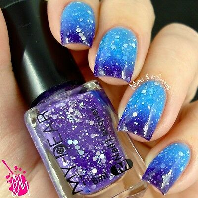 1Pc 6ml Color Changing Thermal Nail Art Varnish Polish Peel Off Purple to Blue