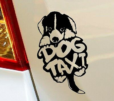 DOG TAXI - CUTE DOG IN CAR Vinyl Decal Sticker Car Window Bumper