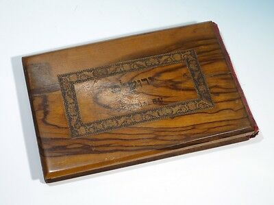 Antique Olivewood Bound Book - Jerusalem Flowers of the Holy Land C1900.