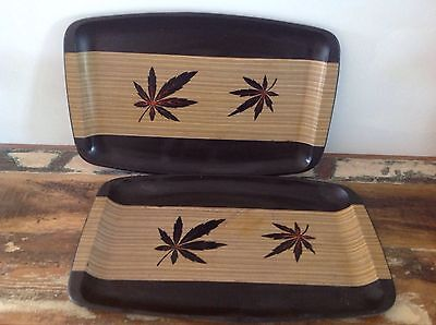 Two Retro Serving Trays Timber Leaf Design
