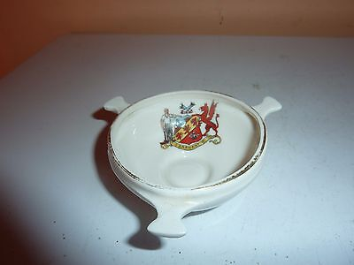Gemma China Three Handled 7.1Cm Diam Bowl With The Welsh Mining Crest Of Garnant