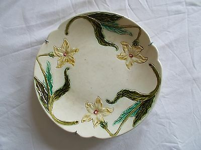 Plat Barbotine Ancien Decor Jonquille Pensee Majolique French Majolica Antique