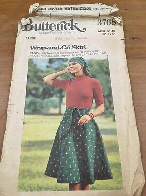 Vintage Butterick  Wrap and Go Skirt Pattern Size Large