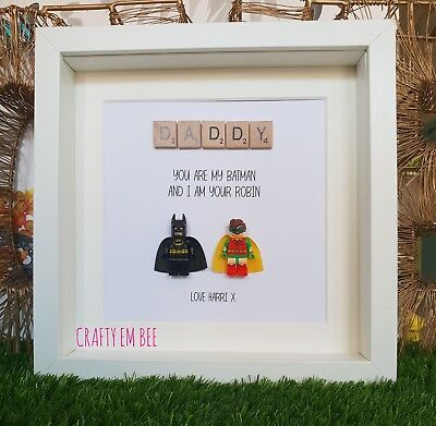 Personalised Lego Superhero and Sidekick Picture Frame • Father's Day • Dad