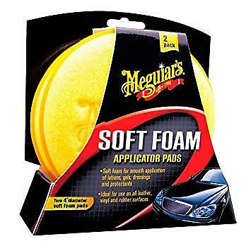 Meguiars Soft Foam Application Pads Cleaning Valeting Detailing ** 2 PACK**