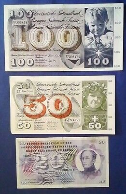 SWITZERLAND: Set of 3 Francs Banknotes - Very Fine