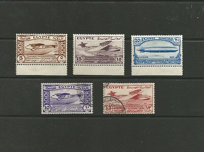 Egypt 1933 Aviation Congress Mint & Used Stamp Set Sg214-218