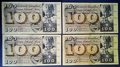 SWITZERLAND: 4 x 100 Francs Banknotes - Very Fine