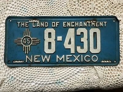 Vintage Original 1945 New Mexico License Plate ~ The Land of Enchantment