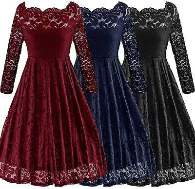Women's Vintage Lace Floral 1950s Rockabilly Cocktail Party Classy Swing Dress