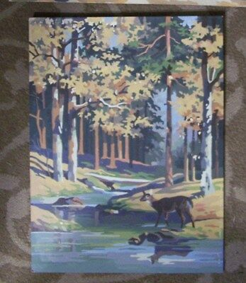Deer Scene By Brook With  Fall Colors- Paint By Number-Vintage-12X16